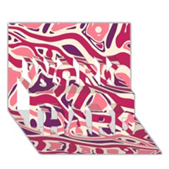 Pink and purple abstract art WORK HARD 3D Greeting Card (7x5)