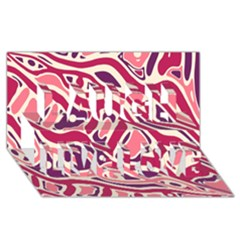Pink and purple abstract art Laugh Live Love 3D Greeting Card (8x4)