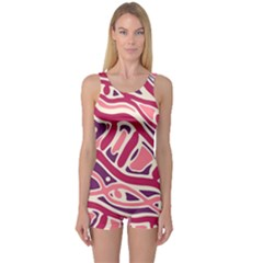 Pink and purple abstract art One Piece Boyleg Swimsuit