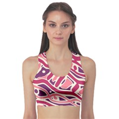 Pink and purple abstract art Sports Bra