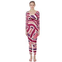 Pink and purple abstract art Long Sleeve Catsuit