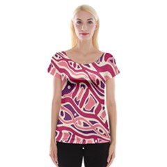 Pink and purple abstract art Women s Cap Sleeve Top