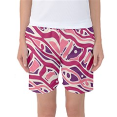 Pink and purple abstract art Women s Basketball Shorts