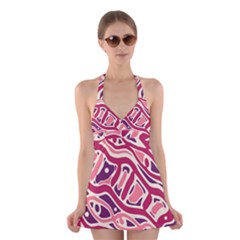 Pink and purple abstract art Halter Swimsuit Dress