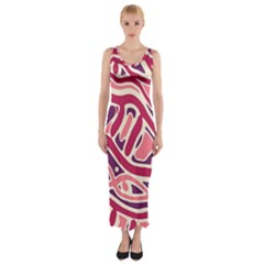 Pink and purple abstract art Fitted Maxi Dress