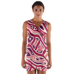 Pink and purple abstract art Wrap Front Bodycon Dress