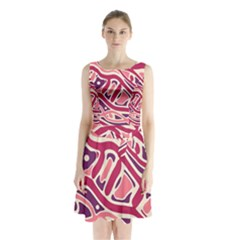 Pink And Purple Abstract Art Sleeveless Waist Tie Dress