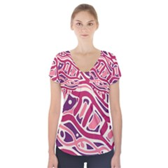 Pink And Purple Abstract Art Short Sleeve Front Detail Top