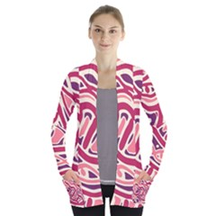 Pink and purple abstract art Women s Open Front Pockets Cardigan(P194)