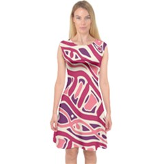 Pink and purple abstract art Capsleeve Midi Dress
