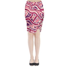 Pink and purple abstract art Midi Wrap Pencil Skirt