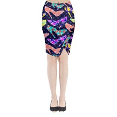 Colorful High Heels Pattern Midi Wrap Pencil Skirt