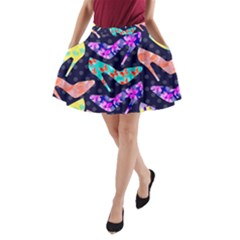 Colorful High Heels Pattern A-Line Pocket Skirt