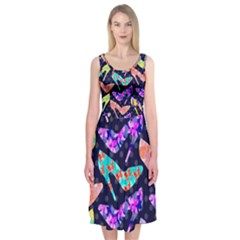 Colorful High Heels Pattern Midi Sleeveless Dress