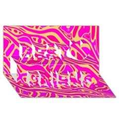 Pink abstract art Best Friends 3D Greeting Card (8x4)