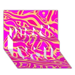 Pink abstract art Miss You 3D Greeting Card (7x5)