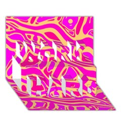 Pink abstract art WORK HARD 3D Greeting Card (7x5)