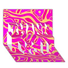 Pink abstract art THANK YOU 3D Greeting Card (7x5)
