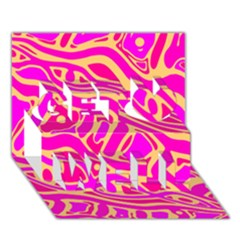 Pink abstract art Get Well 3D Greeting Card (7x5)
