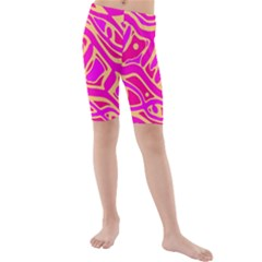 Pink abstract art Kid s Mid Length Swim Shorts