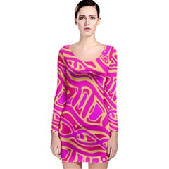 Pink abstract art Long Sleeve Bodycon Dress