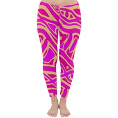 Pink abstract art Winter Leggings
