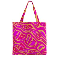 Pink abstract art Zipper Grocery Tote Bag