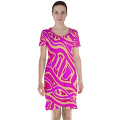 Pink abstract art Short Sleeve Nightdress