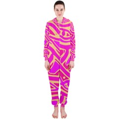 Pink abstract art Hooded Jumpsuit (Ladies)