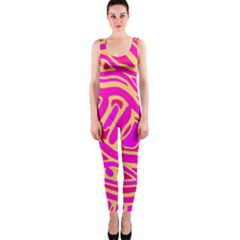 Pink abstract art OnePiece Catsuit