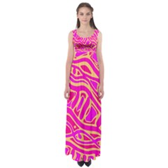 Pink abstract art Empire Waist Maxi Dress