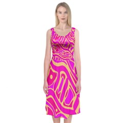 Pink Abstract Art Midi Sleeveless Dress