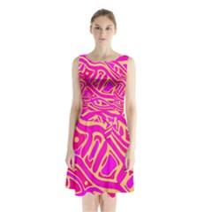Pink abstract art Sleeveless Waist Tie Dress