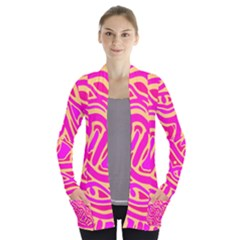 Pink abstract art Women s Open Front Pockets Cardigan(P194)