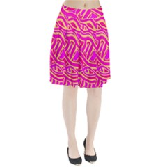 Pink abstract art Pleated Skirt