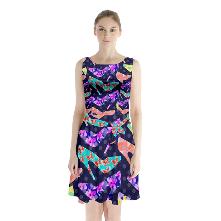 Colorful High Heels Pattern Sleeveless Waist Tie Dress