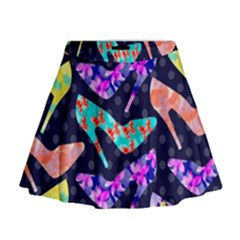 Colorful High Heels Pattern Mini Flare Skirt