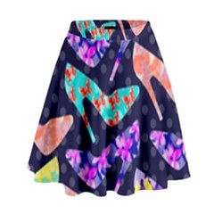 Colorful High Heels Pattern High Waist Skirt