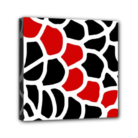 Red, black and white abstraction Mini Canvas 6  x 6