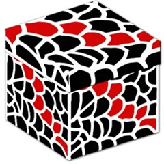 Red, black and white abstraction Storage Stool 12