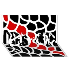 Red, black and white abstraction BEST SIS 3D Greeting Card (8x4)