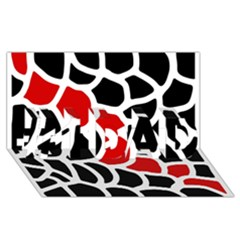 Red, black and white abstraction #1 DAD 3D Greeting Card (8x4)