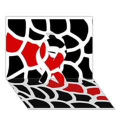 Red, black and white abstraction Ribbon 3D Greeting Card (7x5)