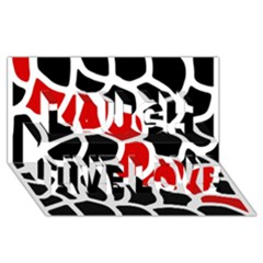 Red, black and white abstraction Laugh Live Love 3D Greeting Card (8x4)