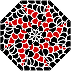 Red, black and white abstraction Hook Handle Umbrellas (Small)