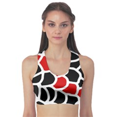 Red, black and white abstraction Sports Bra