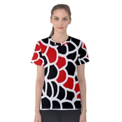 Red, black and white abstraction Women s Cotton Tee
