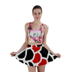 Red, Black And White Abstraction Mini Skirt