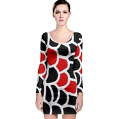 Red, black and white abstraction Long Sleeve Bodycon Dress