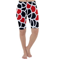 Red, black and white abstraction Cropped Leggings